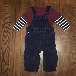 Baby Gap Corduroy Overalls & Matching Shirt